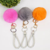 Кольца для ключей POM POM меха кролика мех шаровой цепочки ключей Bag очарование мех Poms