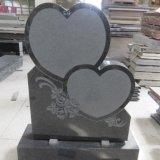 Двойные сердца черного гранита кладбище Headstone конструкций с вырезанными цветы