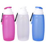 Botella de agua plegable del silicón claro reutilizable hermético para el recorrido