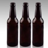 Hochwertige runde bernsteinfarbige Glasbierflasche