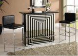 현대 까만 백색 젖빛 유리 상단 강철봉 선술집 테이블 단위