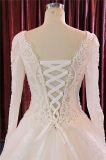 Luva longa que perla o vestido de casamento nupcial do vestido de Evneing do baile de finalistas da esfera do laço
