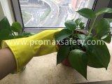 gant jaune de nettoyage de latex de ménage rayé par bande du coton 60g