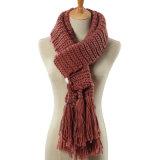 Женщины фасонируют акриловый связанный шарф Tassel (YKY4641)
