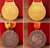L'abitudine poco costosa fa la vostra propria medaglia del metallo del premio di funzionamento di maratona dello smalto di marchio con il nastro