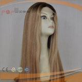 Peluca delantera mezclada rubia del cordón del pelo humano (PPG-l-0384)