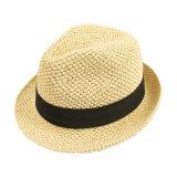 La moda en blanco el verano de la tapa de paja personalizados
