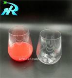 taza de café sin pie plástica del vidrio de vino 15oz