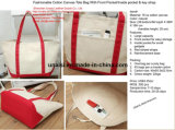 Stripe fourre-tout sac de plage de l'épaule en toile avec poignées de corde de coton