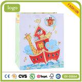 Sacchi di carta blu del regalo di arte dei bambini animali della barca di mare