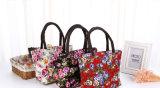 Saco de Tote portátil de Crossbody do mensageiro do ombro do almoço da bolsa da capacidade elevada das mulheres do saco do almoço da lona da impressão da flor da forma