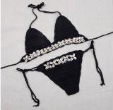 Qualitäts-Frauen-Ineinander greifen-Häkelarbeit-Badeanzug-Badeanzug-Badebekleidungs-Bikini