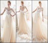 Champagne-Abschlussball-Partei-Hochzeits-Kleid-Spitze-Brautabend-Kleid N1236