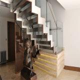 Barandilla de cristal de la tapa del paso de progresión de madera sólida del pasamano de la escalera de acero Cantilevered doble del larguero