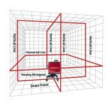 12 linhas totalizam a linha transversal nível vermelho da estação do laser