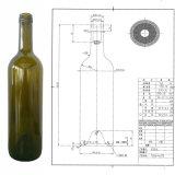 高品質750mlのコルクが付いている旧式な緑のボルドーのワイングラスのびん