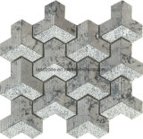 3D Tegel van het Mozaïek van het Patroon van de Chevron Donkergrijze Marmeren voor Muur Deisgn