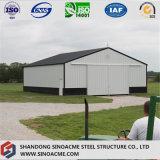 Atelier en acier de construction de bâti portique préfabriqué avec la porte coulissante