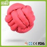Brinquedo de cão de animal de estimação de bola de borracha de corda atada