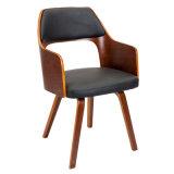 Retro Verneered chaise de salle à manger en bois cintré en noyer Wt-2922-4