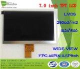 "7.0 "" 1024x600 40LVDS de la broche haute luminosité : 300 TFT LCD écran tactile"
