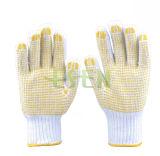 Fabbricazione di lavoro a maglia dei puntini del PVC dei guanti del cotone poco costoso in Cina