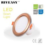 3W 3.5 iluminación de oro del proyector del programa piloto integrado LED Downlight de la pulgada 3CCT