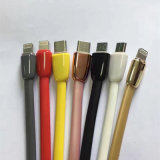 Tipo micro liso do macarronete do USB, relâmpago e Tipo-c cabo de dados