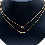 Neues Entwurfs-Doppeltes überlagerte Inner-hängendes Goldkristallhochzeits-Halskette