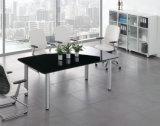 Table moderne de bureau de conférence en verre noir avec pied d'acier