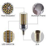 LEIDENE van het Lichaam van de LEIDENE Kleur van het Graan de Lichte E14 25W Warme Witte Zilveren Lamp van de Bol