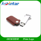 Lecteur flash USB en cuir de la clé de mémoire USB USB3.0 en métal