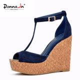 T-Strap Suede Couro Women Laser Cork Wedge High Heels Shoes