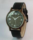 Relógios de pulso de madeira da faixa de madeira quente do couro do relógio da venda para mulheres dos homens