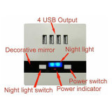 Accueil Universal 4 ports 5V 3000mA Plaque de charge USB Wall Socket Output avec Night Light