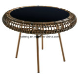 テラスのレストランのための屋外の家具の総合的なPEの藤の円卓会議そして椅子