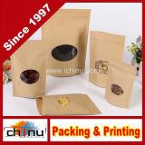 Sacchetto rivestito di alluminio della carta kraft Con la parte superiore della chiusura lampo per l'imballaggio Nuts a secco del tè dell'alimento (220122)