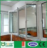 Bi die van het Profiel van het aluminium Venster met Aangemaakt Glas vouwen