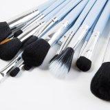 conjunto de cepillo profesional del maquillaje 15PCS con el bolso de cuero azul de la PU