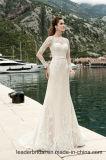 Vestidos de casamento longos W1601 das luvas da sereia chique do laço dos vestidos nupciais