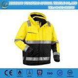 黄色い防水ジャケットの電気安全ジャケットの反射安全燈ジャケット
