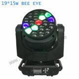 19X15W RGBW 4en1 Déplacement de la lumière de la tête de l'oeil de l'abeille pour Big Show