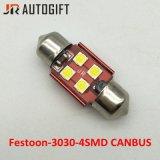 Auto bulbos do diodo emissor de luz da leitura do carro do festão 4SMD 3030 da lâmpada do diodo emissor de luz