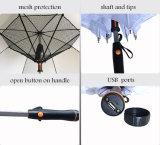 Kundenspezifischer Firmenzeichen-Drucken 23inch 8K gerader USB-Ventilator-Regenschirm