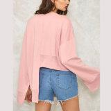Maglietta felpata in bianco di colore rosa del pullover del panno morbido del maglione di Hoodies delle signore