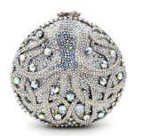 Sacs à main en forme de ronde de forme ronde Sacs de soirée strass Sacs à main de luxe en cristal en pierre Leb886