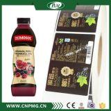 Emballage Alimentaire clair autocollant pour le verre et des étiquettes de bouteille en plastique