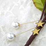 Popular Jóias Moda Mulheres Ouro Long Dangle Pearl Earrings