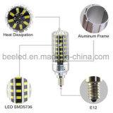 La luz E12 10W del maíz del LED refresca la lámpara de plata blanca del bulbo de la carrocería LED del color