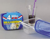 Rechteckiger Plastikvorratsbehälter Microwavable 24oz